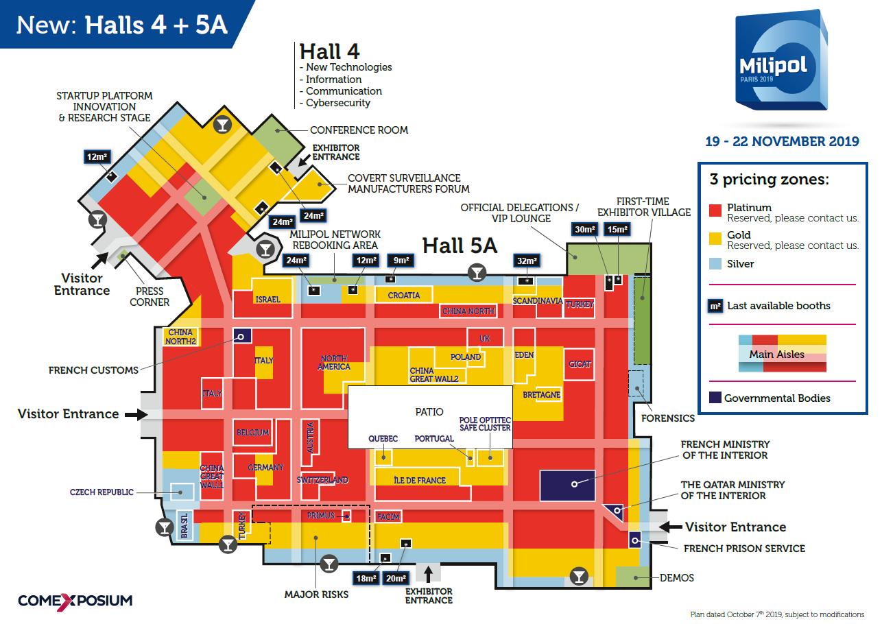 Milipol Paris 2019 floor plan - Locations available