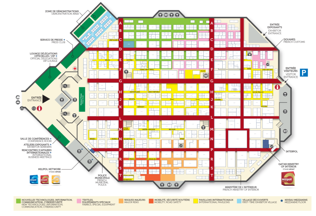 Milipol Paris 2017 interactive floor plan